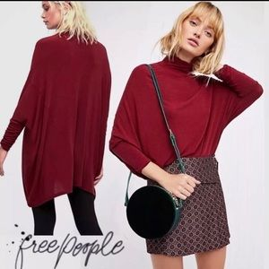 We the Free People Wine Terry Turtleneck Oversized